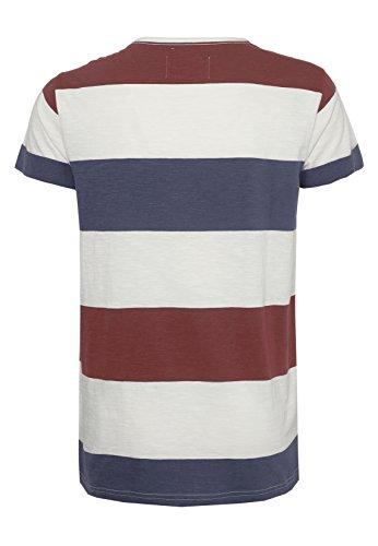 Sky Rebel Herren Streifen T-Shirt DEREK | Leichtes Jersey Shirt mit geradem Basic-Schnitt dark-red M
