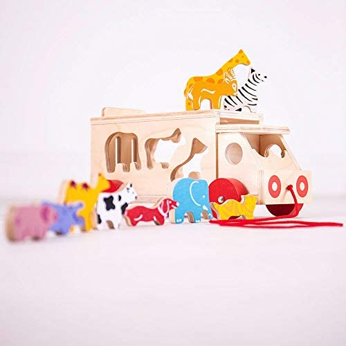 Bigjigs Toys Animal Shape Lorry - Wooden Shape Sorter Pull Along Toy