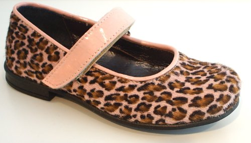 CHERIE Spangenschuhe rosa braun Leoparden Style Leder echtes Fell