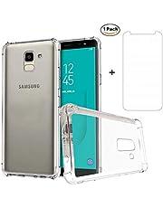 Ttimao Hoesje voor Samsung Galaxy J6 2018 Transparante Zachte TPU Siliconen Versterkte Hoeken Design Anti-Valbeveiliging Ultradunne Krasbestendig Shock Proof Beschermhoes+1*Screen Protector