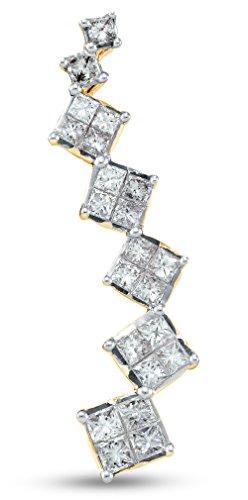 Sonia Jewels 14K Yellow Gold Invisible Set Princess Cut Journey Diamond Pendant Charm (1/2 cttw.) (Princess Invisible Set Diamond Pendant)