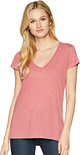 Alternative Women's Melange Burnout Jersey Slinky V-Neck Washed Rose Overdye X-Small