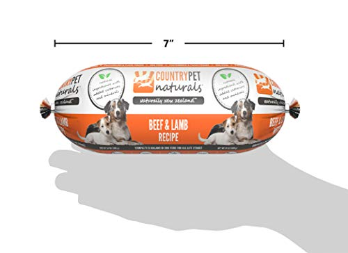 CountryPet Naturals Pasteurized Frozen Dog Food, 1.5 lbs, Beef and Lamb Recipe, 16 Rolls (24 lbs Total), Made in New Zealand