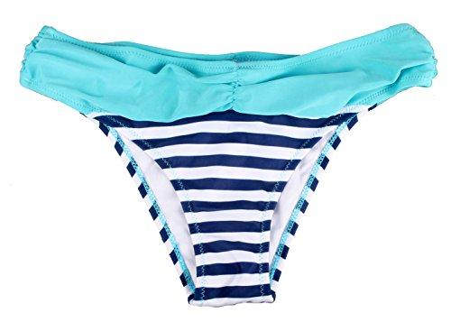 ZAIQUN Atractiva Mujeres Rayas Ba?ador Tops de Bikini y Partes de Abajo de Trajes de Ba?o con Lunares Surf Ropa de Playa Azul1