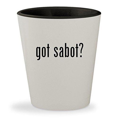 Shockwave Sabots (got sabot? - White Outer & Black Inner Ceramic 1.5oz Shot Glass)