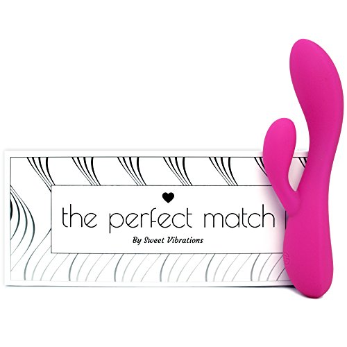 The Perfect Match - Flexible Rabbit Vibrator Sex Toy with 10 Powerful Settings for Women & Couples, Waterproof, Rechargeable, Quiet, by Sweet Vibrations (Pink) by Sweet Vibrations