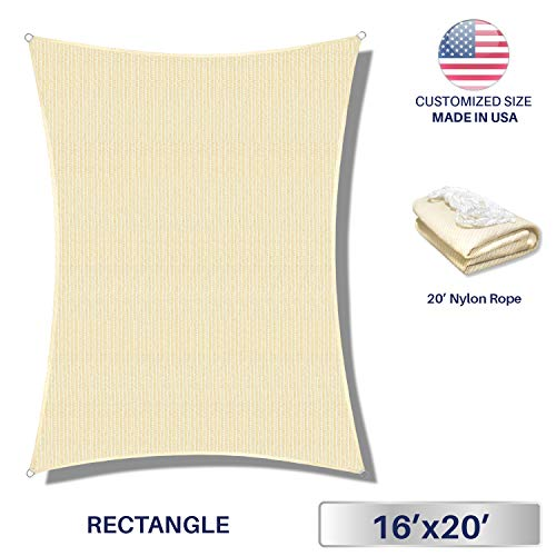 Windscreen4less 16 x 20 Sun Shade Sail Rectangle Canopy in Begie with Commercial Grade 3 Year Warranty Customized Sizes Available