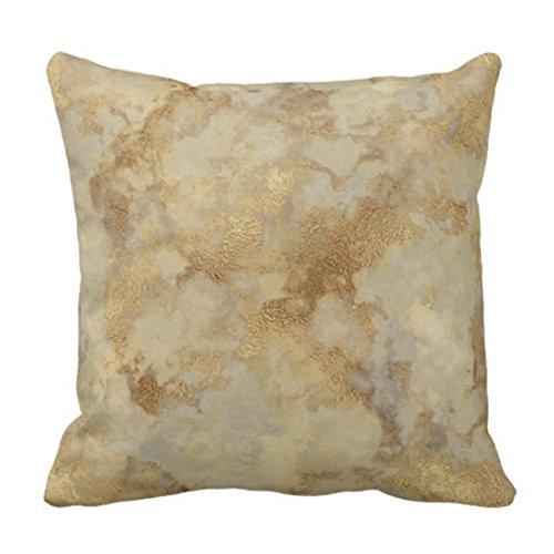 TORASS Throw Pillow Cover Leaf Gold Foil Antique Vintage Decorative Pillow Case Home Decor Square 20 x 20 Inch Pillowcase (Gold Cover 1 Foil)