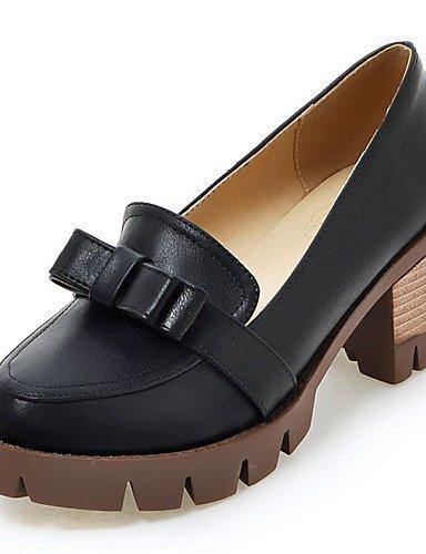 GGX/ Damen-High Heels-Kleid / Lässig-Kunstleder-Blockabsatz-Absätze / Plateau / Rundeschuh-Schwarz / Grau / Beige beige-us5.5 / eu36 / uk3.5 / cn35