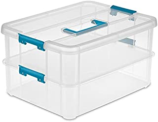 product image for Sterilite 1427CLR Stack & Carry - 2 Layer Box, Clear Lid & Blue Handle, See-through layers