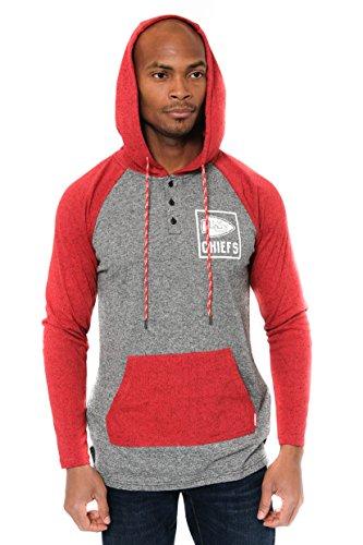 (Icer Brands NFL Kansas City Chiefs Men's Fleece Hoodie Pullover Sweatshirt Henley, Medium, Red)