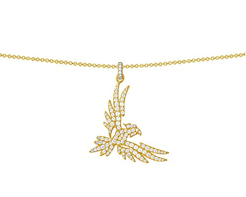 Wishrocks Round Cut White Cubic Zirconia Falcon Pendant Necklace in 14K Yellow Gold Over Sterling Silver