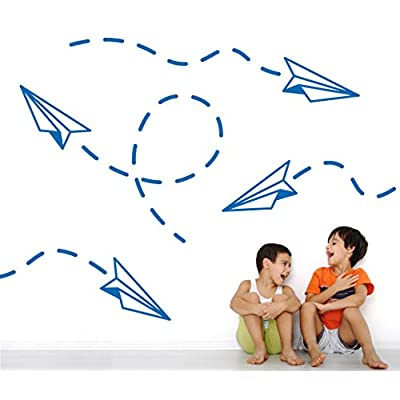 DIY Kids Modern Wall Art Paper Airplane Decals Removable Vinyl Home Decor Nursery Stickers [Set of 4] (Azure Blue, 19x21 inches): Home & Kitchen