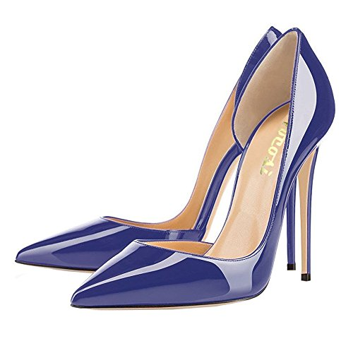 Women Classic High Pointed Closed patent Pumps Bridal VOCOSI Women's Blue for Wedding Heels Party Toe CtfZwFq