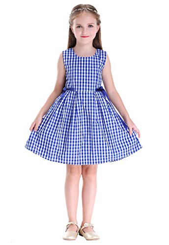 Happy Rose Girl Dress Vintage Cotton Blue Plaid 6 -
