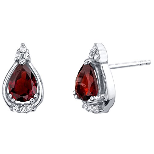 Garnet Sterling Silver Empress Stud Earrings 1.50 Carats Total (Garnet Raspberry Ring)