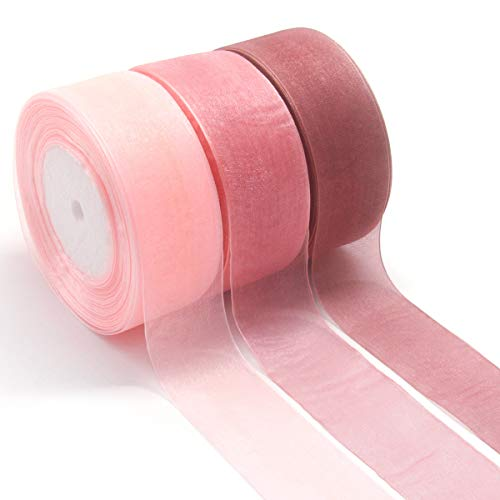 - NICROLANDEE 3pcs Sheer Chiffon Ribbon 1.5Inch×49 Yards Dusty Rose Fading Ribbon Set for Wedding Gift Package Valentines Bouquets Wrapping Birthday Baby Shower Home Decor Wreath Decorations Fabric