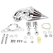 Harley Davidson Softail Night Train, Fat Boy, Cross Bones, Dyna, Super Glide, Street Bob, Low Rider, Fat Bob, Wide Glide, Touring, Road King, Street Glide, Road Glide, Electra Glide, Softail & Cross Bones Softail Cruiser High Quality Chrome Billet Aluminum Cone Spike Air Cleaner Kit Intake Filter Motorcycle (2001-2009)