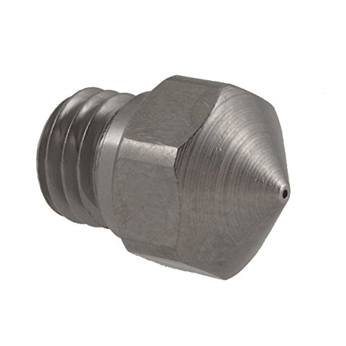 Micro-Swiss HW-NOZ-MK10-04 Plated Brass Wear Resistant Nozzles, 1.75 mm, MK10 (Flash Forge/Dremel/Wanhao) 0.4 mm, Bright Nickel by Micro-Swiss