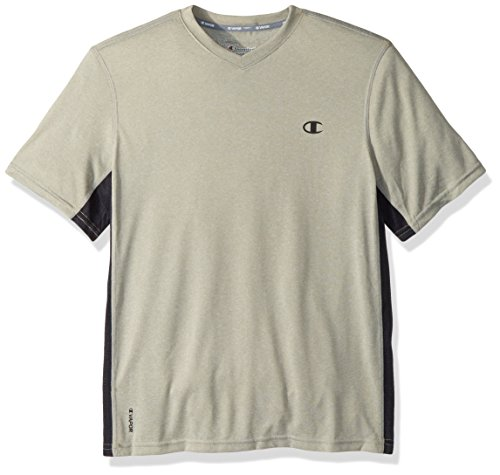 Champion Men's Vapor Heather V-Neck Tee, Oxford Grey/Black, X Large