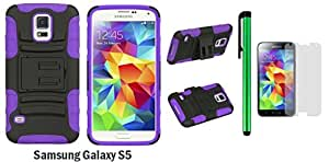 Samsung Galaxy S5 Holster Case - Heavy Duty Dual Shield Hybrid Protector Case with KickStand and Swivel Belt Clip Holster + Screen Protector Film + 1 of New Metal Stylus Touch Screen Pen (PURPLE / BLACK)