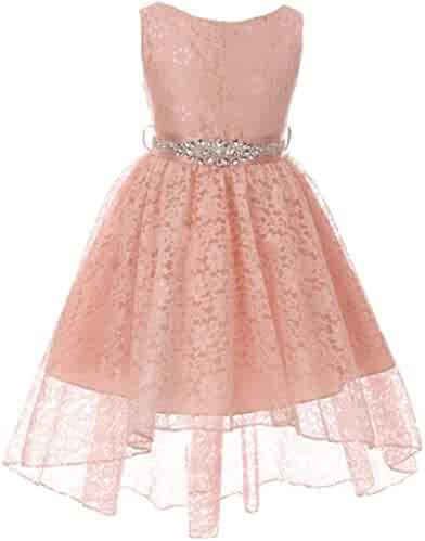 6b4df1ffe Dreamer P Girls Dress High Low Rhinestones Belt Lace Pageant Flower Girl  Dress