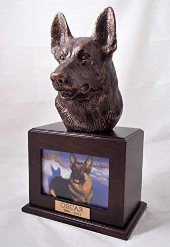 (Ever My Pet Bronze German Shepherd Dog Picture Pet Urn Walnut)