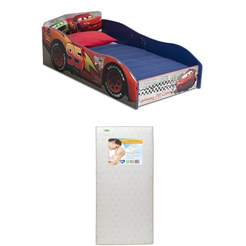Best Buy! Delta Children Disney/Pixar Cars Wood Toddler Bed  with Twinkle Stars Crib & Toddler Mattress