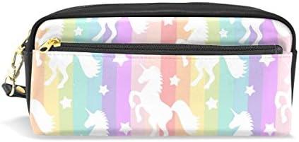ISAOA Estuche de gran capacidad con cremallera para artículos de papelería, bonito estuche de unicornios de color blanco para cosméticos y cosméticos para niñas y niños: Amazon.es: Oficina y papelería