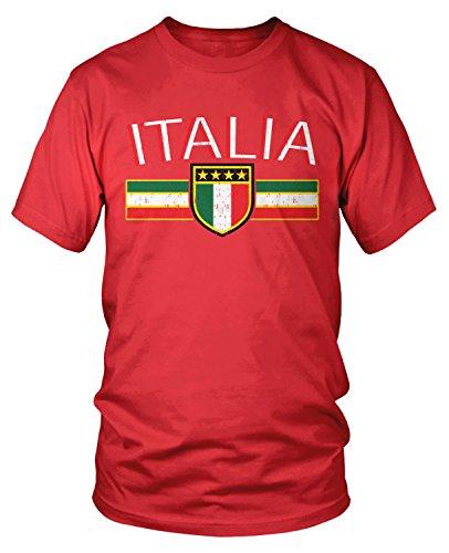 (Amdesco Men's Italia Flag and Shield, Italy Italian Pride T-Shirt, Red)