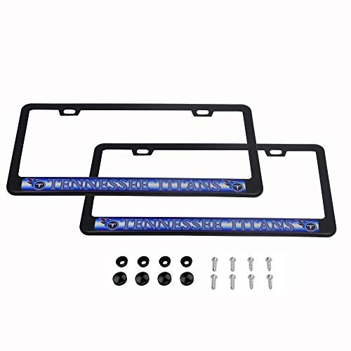 (CHNNFC 2 Pack Luxury Stainless Steel License Plate Frame and Colored Auto Emblem (Tennessee Titans))