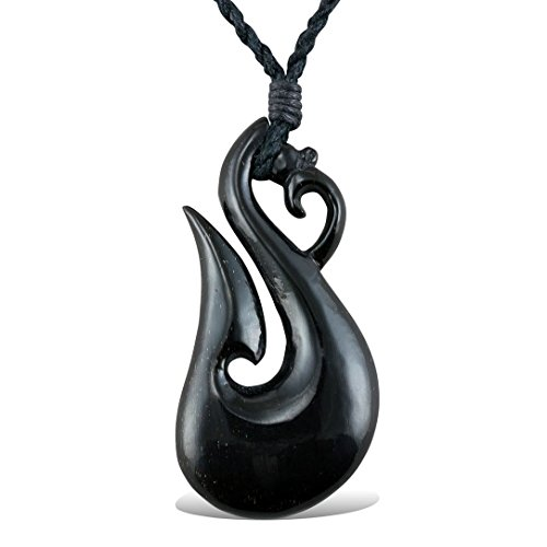 Tribal Horn Necklace Maori Dragon Pendant on Adjustable (Tribal Horn Necklace)