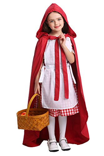 SAMCOS Halloween Little Red Riding Hood Costumes Childrens Maid Dress Cosplay Robe Costume for Kids Girls (X-Small, Red)]()