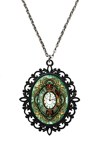 Victorian Vault Art Steampunk Chronos Serpent Black Pendant Necklace on Chain