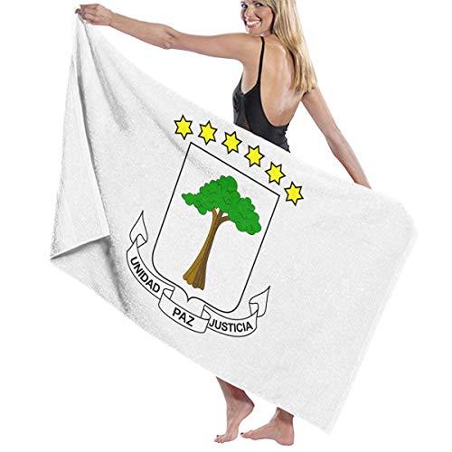 想起どこにでも怠けたビーチバスタオル バスタオル 赤道ギニア国旗の紋章 速乾タオル 海水浴 旅行用タオル 多用途 おしゃれ White