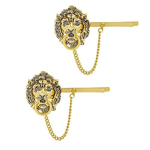 (Steve Madden Women's Two Piece Lion Head Door Knocker Yellow Gold-Tone Hair Pin )
