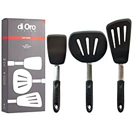 "Di oro chef series 3-piece silicone turner spatula set - 600f heat-resistant flexible rubber silicone spatulas - silicone cooking utensil set - egg turners, pancake flippers, kitchen spatulas 1 flexible pro-grade silicone turner spatulas - flexible reinforced high-heat silicone blade makes cooking fun. Ergonomic design for easier flipping. Chef series flex blade spatulas are perfect for flipping eggs, pancakes, fish, and vegetables without scratching. Standard spatula is 11. 8"" (30cm) long overall. Blade 4. 5"" x 3"" (11. 4cm x 7. 6cm). Long spatula is 14. 2"" (36cm) long overall. Blade 6. 75"" x 4"" (17. 1cm x 10. 1cm). Round spatula is 12. 2"" (31cm) long overall. Blade 5"" x 6"" (12. 7cm x 15. 2cm). S-core internal stainless steel support technology - the strength and flexibility of our stainless steel blade core and handle means that these utensils will hold up to the demanding use of home cooks and professional chefs and won't break like cheap plastic store brands. High heat 600f pro-grade silicone - our bpa free, fda approved, and lfgb certified silicone is bonded to flexible stainless steel and is safe for coated & non-stick cookware and perfect for use with hot foods and around the cook top."