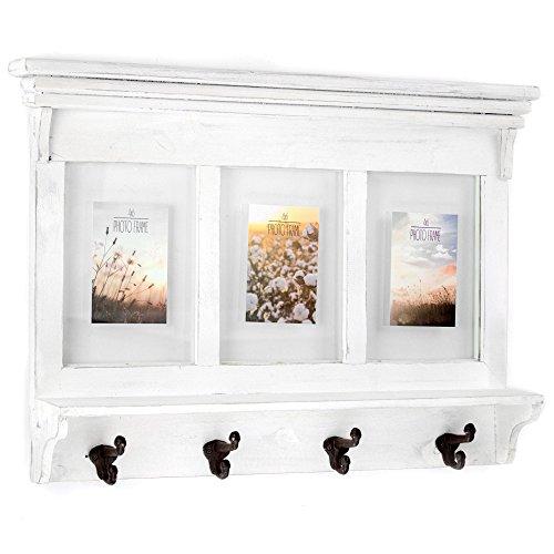 American Art Decor Whitewashed Wood Shelf Coat Rack with Picture Frames – Farmhouse Decor by Millennium Art