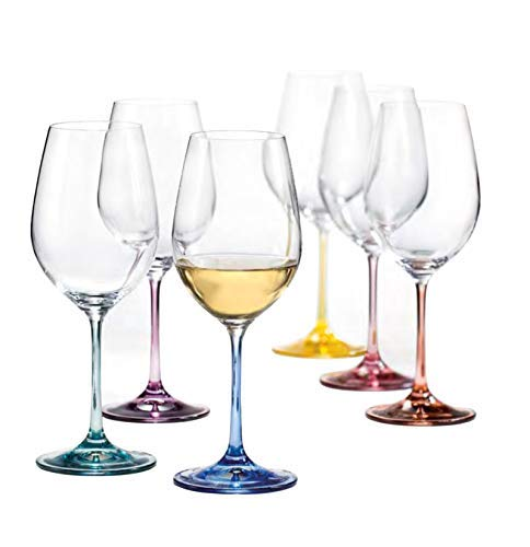 (Bohemia Crystal, Spectrum Rainbow, Colored Crystal Wine Glasses, Set of 6, 12 oz, Each Base a Different Color, Lead Free)