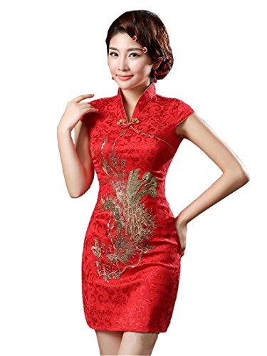 - YueLian Women's Chinese Style Wedding Dress Short Phoenix Qipao Cheongsam Party Dress (0, red)