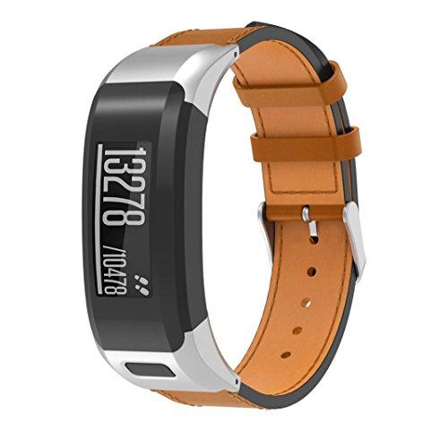 Tiean For Garmin VIVOsmart HR, Luxury Leather Replacement Wrist Watch Band Strap (Silver) by Tiean