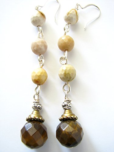 Tiger Eye Mookaite Jasper Long Brown Dangle Earrings Beaded Drop Faceted Semi Precious Stones (Earrings Jasper Eye Tigers)