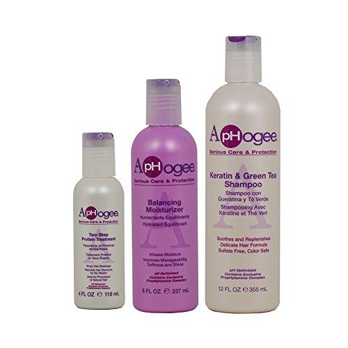 ApHogee Two-Step Protein Treatment 4oz + Balancing Moisturizer 8oz + Keratin & Green Tea Shampoo 12oz ()