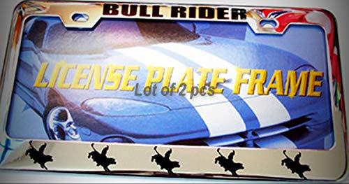 (Set of 2 Pcs - Bull Rider Texas Cowboy Rodeo Metal Tag Holder Car Auto License Plate Frame Decorative Border)
