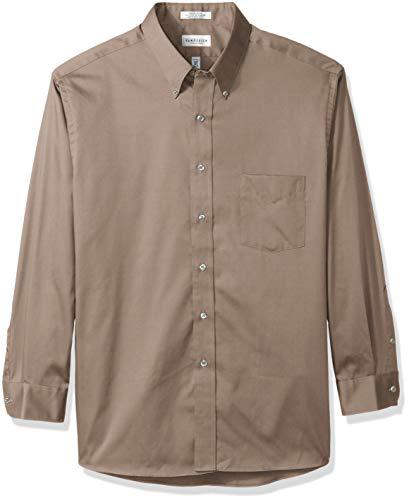 Van Heusen Men's Regular Fit Oxford Button Down Collar Dress Shirt, Khaki, Large