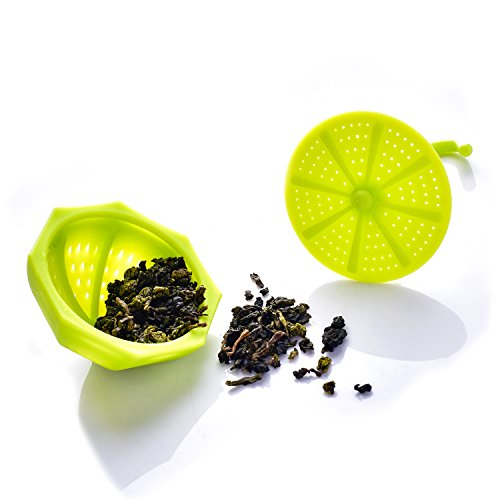 Tea Bag Infuser-Senbowe™ 3 Pack Colorful Genuine Premium Silicone Umbrella Reusable Tea Ball Infuser Strainer Steeper Set for Loose Leaves & Herbal Teas-Great Gift for Tea Lovers by senbowe (Image #1)