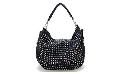 Flowertree Women's Metallic Leather Pebble Rhinestone Stud Slouch Hobo Shoulder Bag (Black) (Stud Hobo Purse)