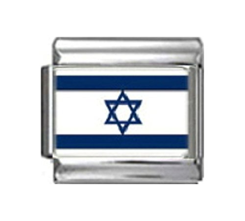 ISRAEL ISRAELIS FLAG Photo Italian Charm 9mm - 1 x PC085 Single Bracelet - Traditional Charm Italian