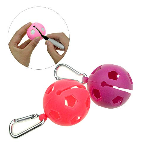 Kofull 2 in 1 Golf Ball Liner Golf Ball Holder with Aluminum Hook Soft Silicone 4 Color Available -Free 2 Golf Mark Pen (Red/Purple)