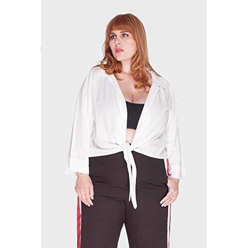 Blusa Amarração Plus Size Branco-46/48